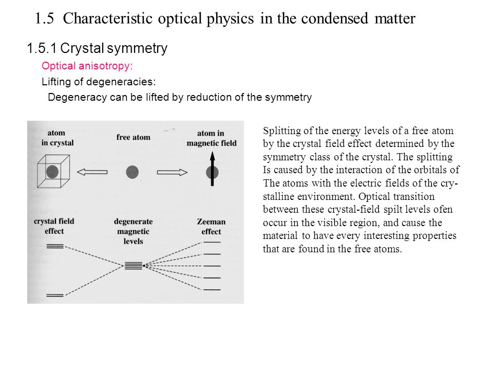 1.5.1 Crystal symmetry Optical anisotropy: Lifting of degeneracies: Degeneracy can be lifted by reduction of the symmetry 1.5 Characteristic optical physics in the condensed matter Splitting of the energy levels of a free atom by the crystal field effect determined by the symmetry class of the crystal.