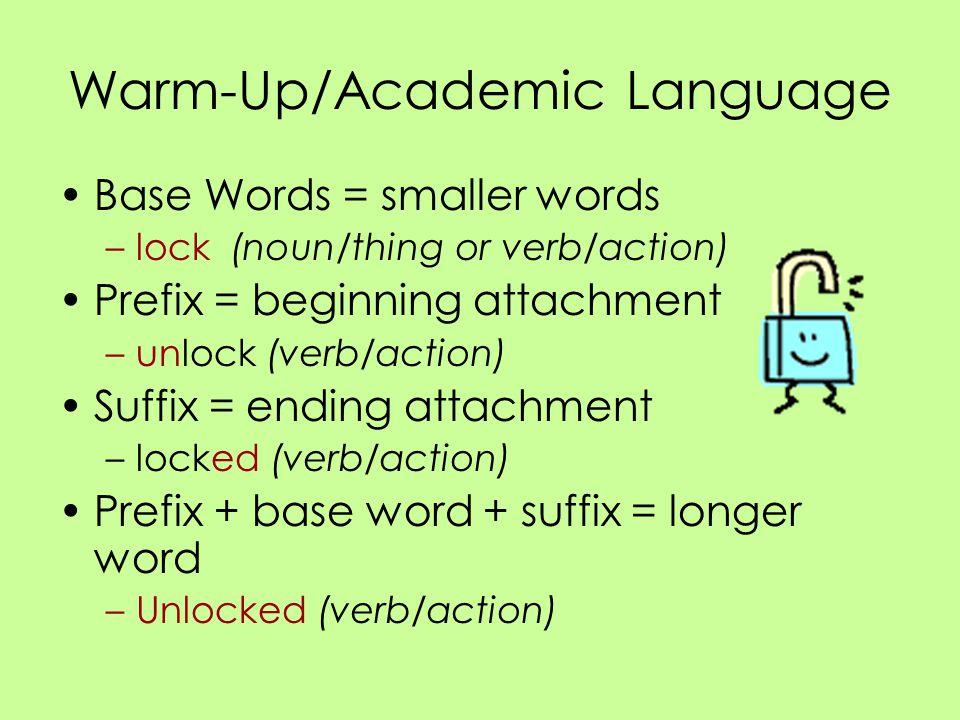 Warm-Up/Academic Language Base Words = smaller words –lock (noun/thing or verb/action) Prefix = beginning attachment –unlock (verb/action) Suffix = en