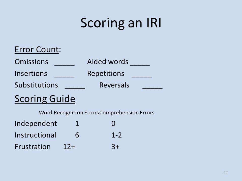 Scoring an IRI Error Count: Omissions _____Aided words _____ Insertions _____Repetitions _____ Substitutions _____Reversals _____ Scoring Guide Word Recognition ErrorsComprehension Errors Independent10 Instructional61-2 Frustration12+3+ 44