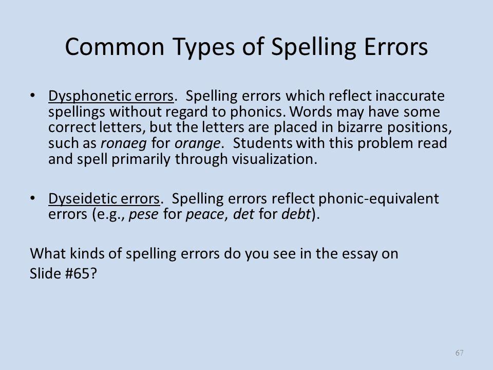 Common Types of Spelling Errors Dysphonetic errors.