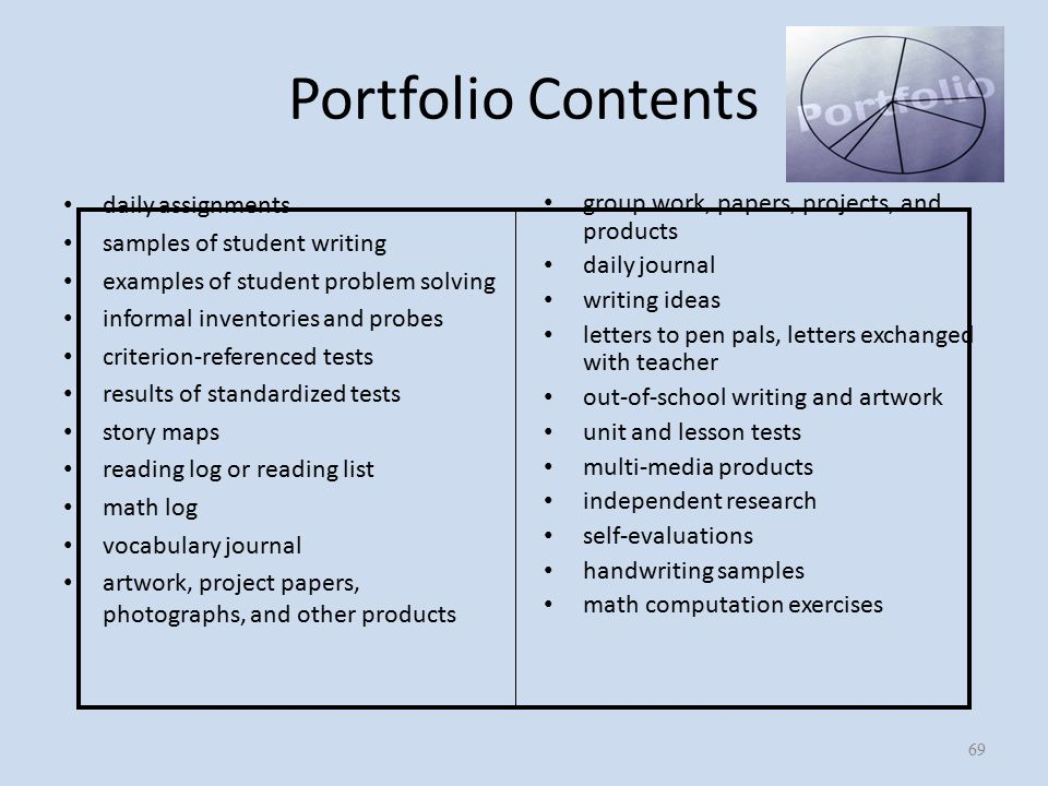 Portfolio Contents daily assignments samples of student writing examples of student problem solving informal inventories and probes criterion-referenced tests results of standardized tests story maps reading log or reading list math log vocabulary journal artwork, project papers, photographs, and other products group work, papers, projects, and products daily journal writing ideas letters to pen pals, letters exchanged with teacher out-of-school writing and artwork unit and lesson tests multi-media products independent research self-evaluations handwriting samples math computation exercises 69