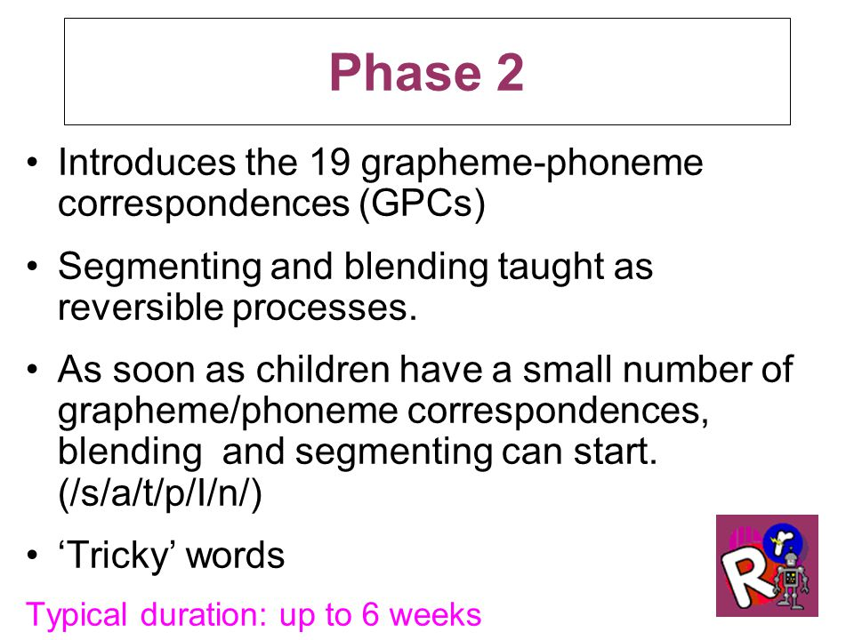 Phase 2 Introduces the 19 grapheme-phoneme correspondences (GPCs) Segmenting and blending taught as reversible processes.