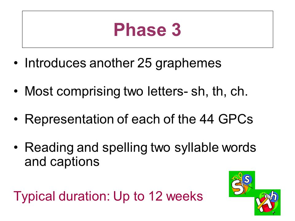 Phase 3 Introduces another 25 graphemes Most comprising two letters- sh, th, ch. Representation of each of the 44 GPCs Reading and spelling two syllab