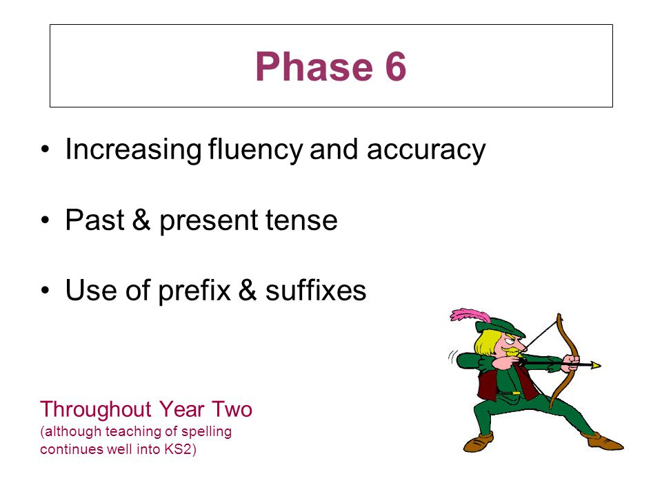 Phase 6 Increasing fluency and accuracy Past & present tense Use of prefix & suffixes Throughout Year Two (although teaching of spelling continues well into KS2)
