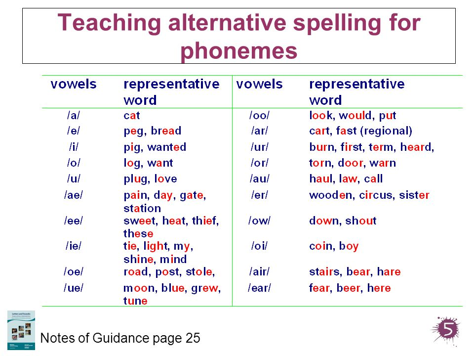 Teaching alternative spelling for phonemes Notes of Guidance page 25