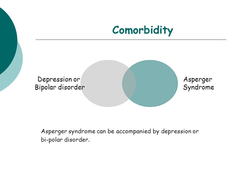 Comorbidity Depression or Bipolar disorder Asperger Syndrome Asperger syndrome can be accompanied by depression or bi-polar disorder.