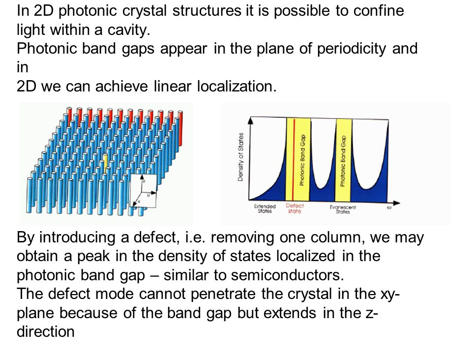 In 2D photonic crystal structures it is possible to confine light within a cavity.