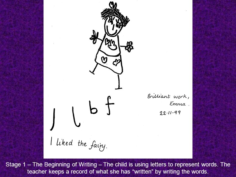 Stage 1 – The Beginning of Writing – The child is using letters to represent words.