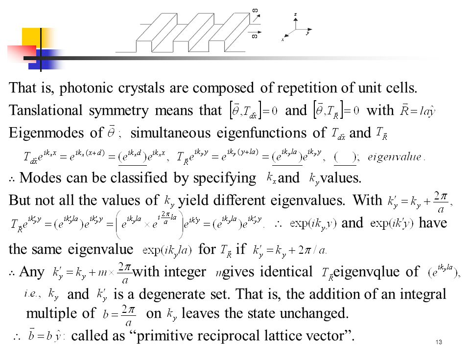13 That is, photonic crystals are composed of repetition of unit cells.