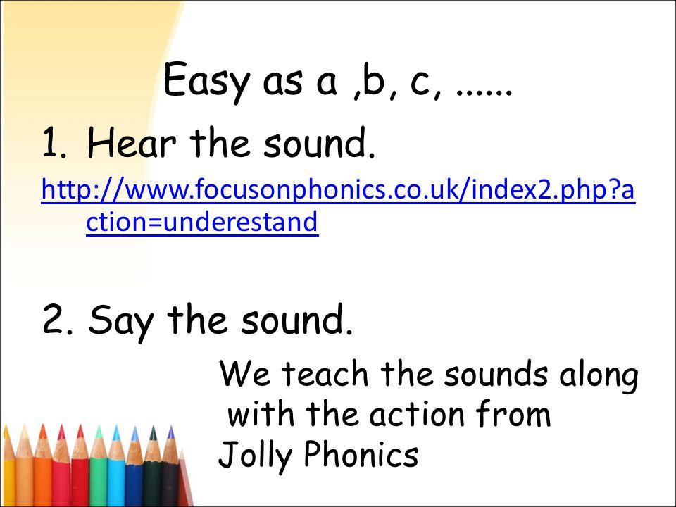 Easy as a,b, c,...... 1.Hear the sound.