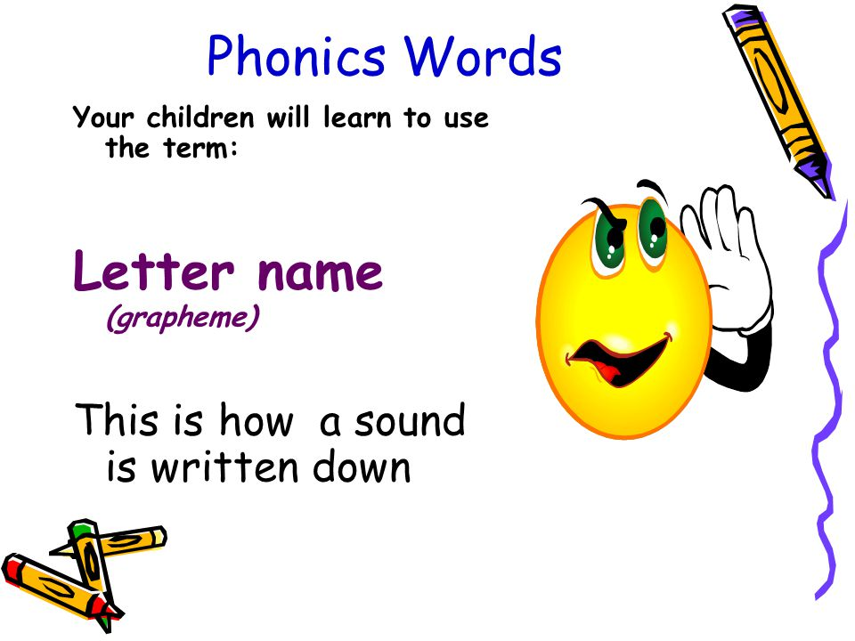 Phonics Words Your children will learn to use the term: Letter name (grapheme) This is how a sound is written down