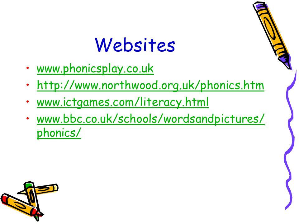 Websites www.phonicsplay.co.uk http://www.northwood.org.uk/phonics.htm www.ictgames.com/literacy.html www.bbc.co.uk/schools/wordsandpictures/ phonics/www.bbc.co.uk/schools/wordsandpictures/ phonics/