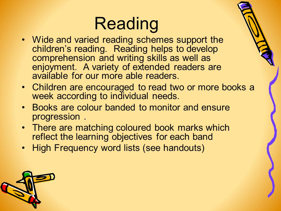 Reading Wide and varied reading schemes support the children's reading.