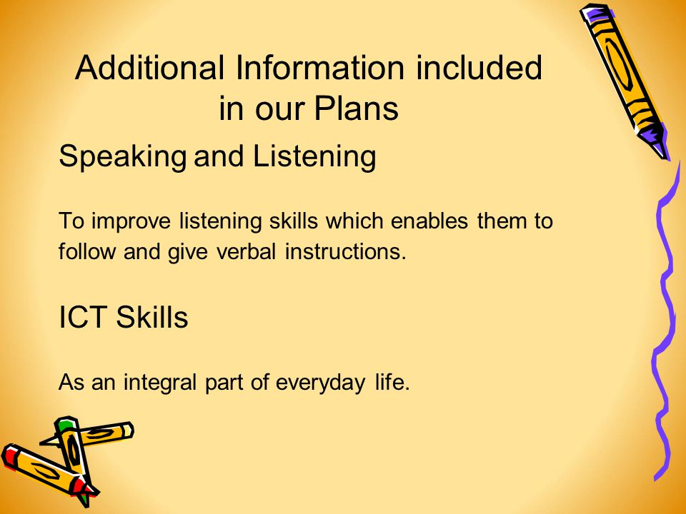 Additional Information included in our Plans Speaking and Listening To improve listening skills which enables them to follow and give verbal instructions.