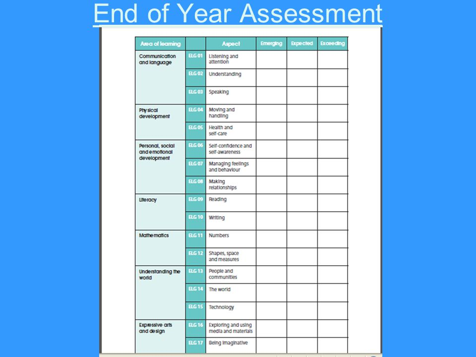 End of Year Assessment