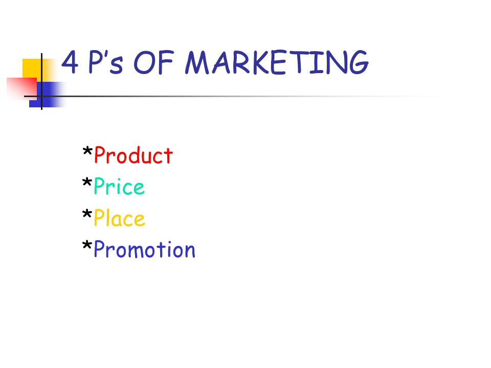 4 P's OF MARKETING *Product *Price *Place *Promotion