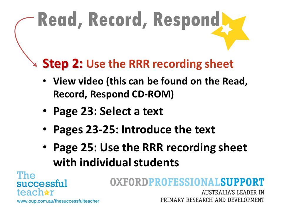 Read, Record, Respond Step 2: Step 2: Use the RRR recording sheet View video (this can be found on the Read, Record, Respond CD-ROM) Page 23: Select a