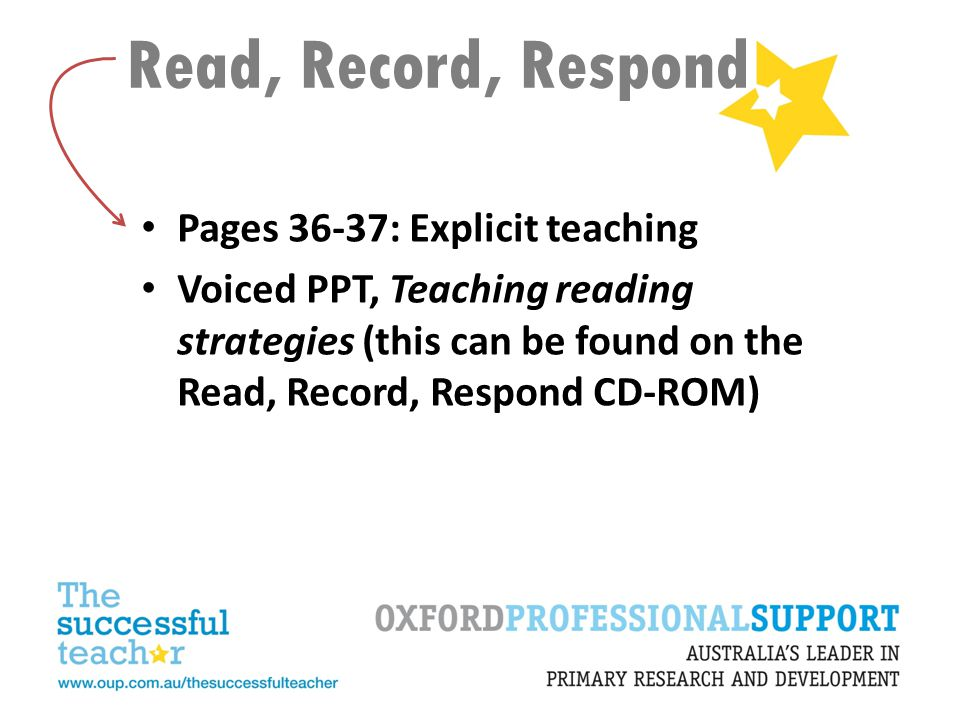 Read, Record, Respond Pages 36-37: Explicit teaching Voiced PPT, Teaching reading strategies (this can be found on the Read, Record, Respond CD-ROM)