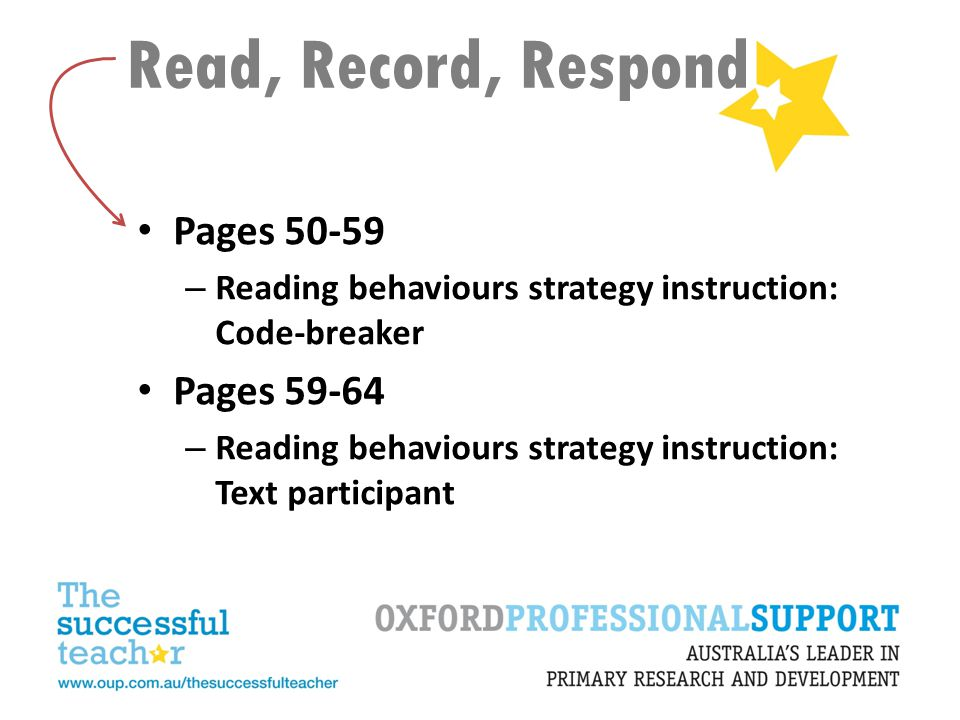 Read, Record, Respond Pages 50-59 – Reading behaviours strategy instruction: Code-breaker Pages 59-64 – Reading behaviours strategy instruction: Text