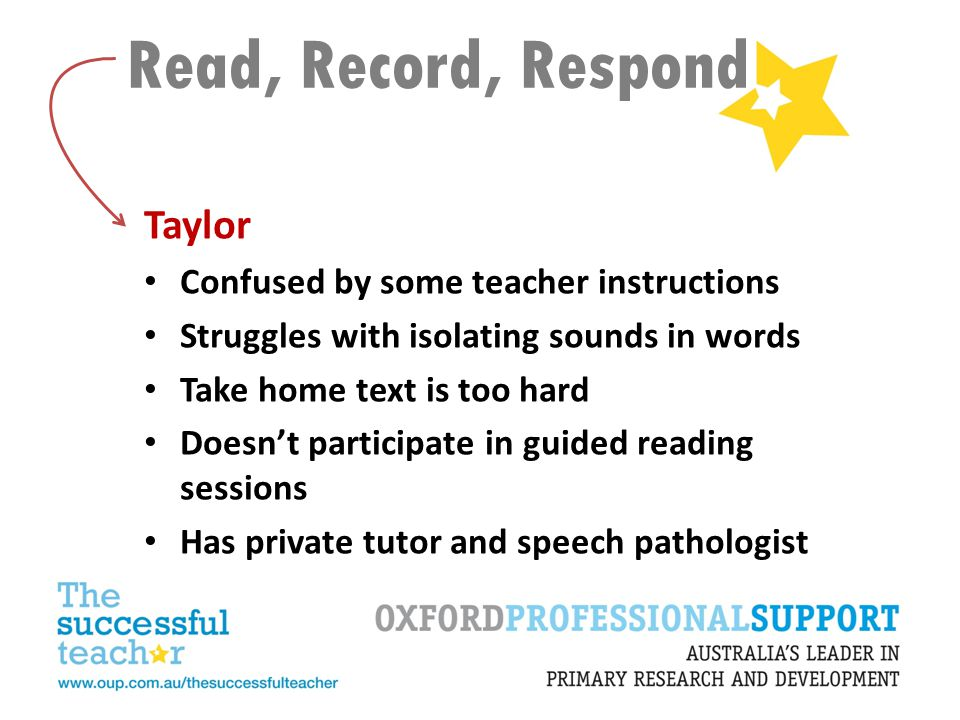 Read, Record, Respond Taylor Confused by some teacher instructions Struggles with isolating sounds in words Take home text is too hard Doesn't partici