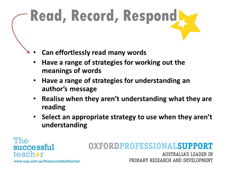 Read, Record, Respond Can effortlessly read many words Have a range of strategies for working out the meanings of words Have a range of strategies for