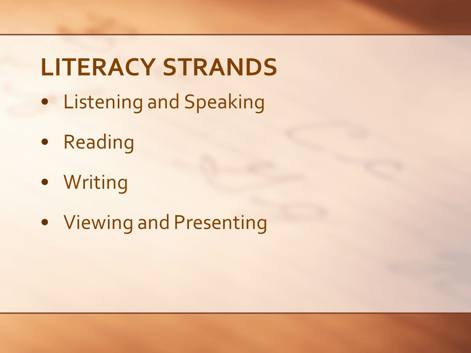 LITERACY STRANDS Listening and Speaking Reading Writing Viewing and Presenting