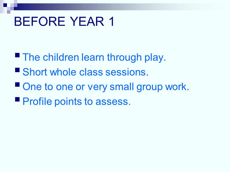 BEFORE YEAR 1  The children learn through play.  Short whole class sessions.