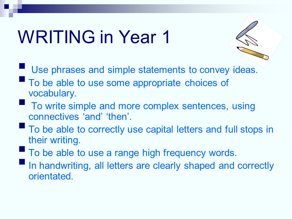 WRITING in Year 1  Use phrases and simple statements to convey ideas.