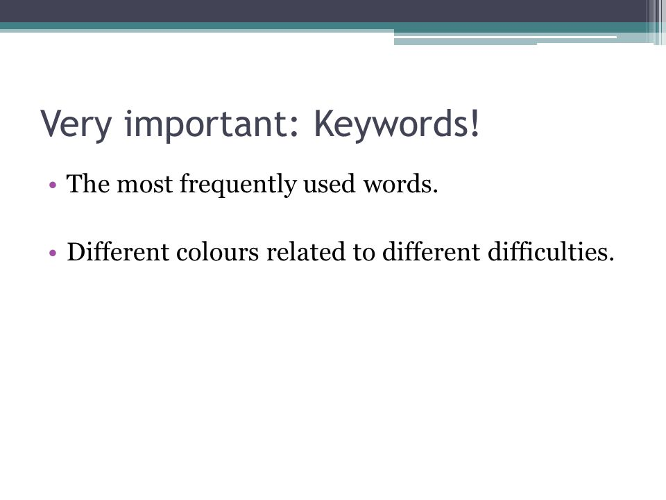 Very important: Keywords. The most frequently used words.