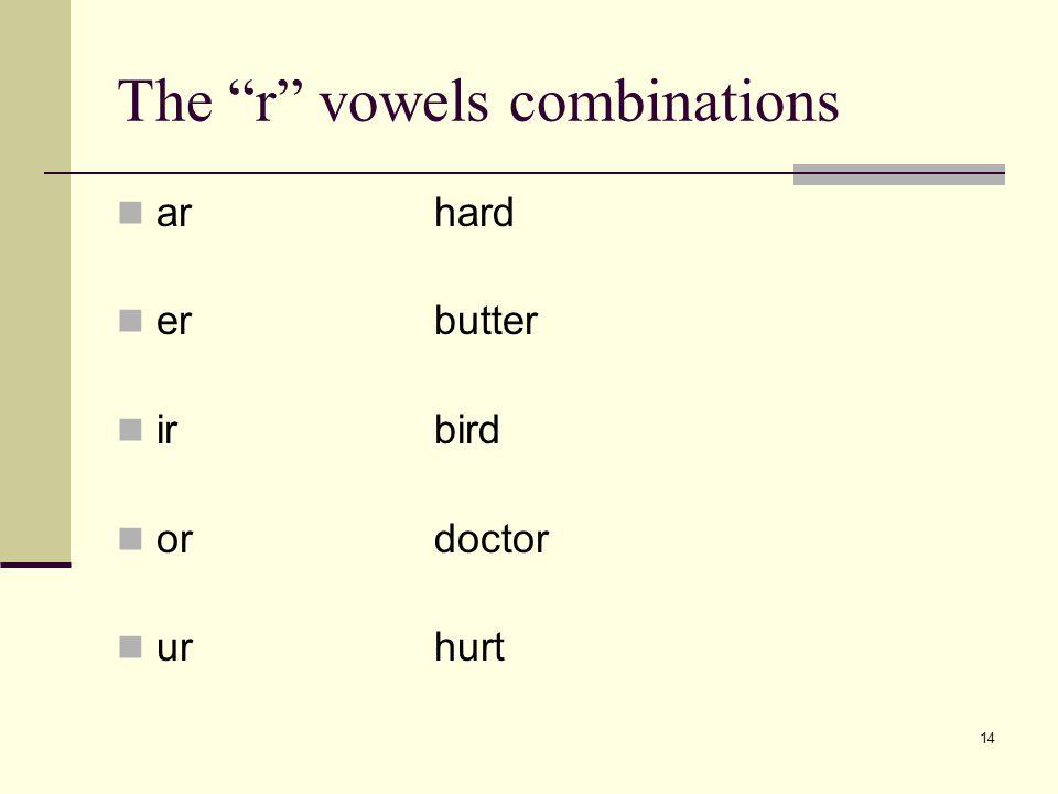 """14 The """"r"""" vowels combinations arhard erbutter irbird ordoctor urhurt"""