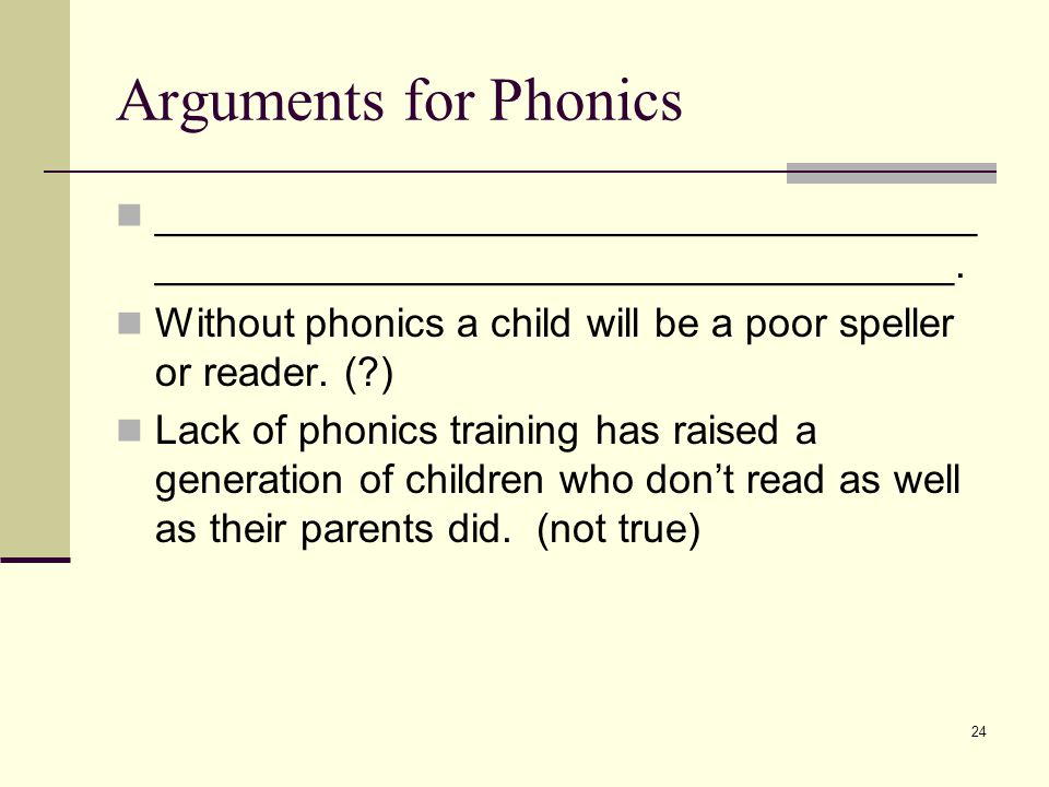 24 Arguments for Phonics ____________________________________ ___________________________________. Without phonics a child will be a poor speller or r