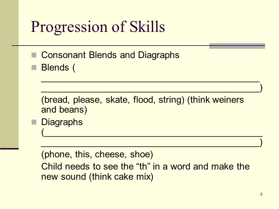 8 Progression of Skills Consonant Blends and Diagraphs Blends ( __________________________________________ __________________________________________) (bread, please, skate, flood, string) (think weiners and beans) Diagraphs (__________________________________________ __________________________________________) (phone, this, cheese, shoe) Child needs to see the th in a word and make the new sound (think cake mix)