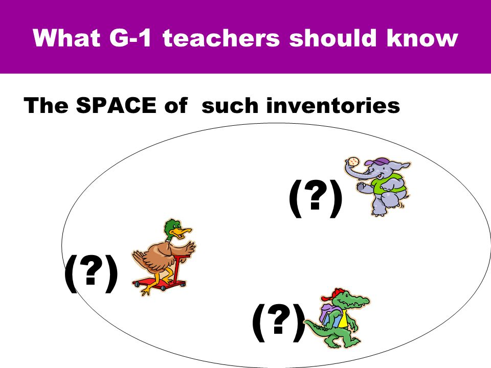 What G-1 teachers should know The SPACE of such inventories ( ) = [ 9A+7E+6D ] & SUBTRACTION (when it works)