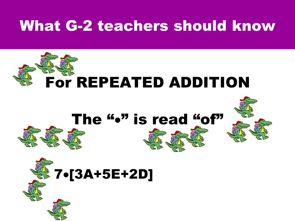 What G-2 teachers should know For REPEATED ADDITION The  is read of 7  [3A+5E+2D] = 21A+35E+14D