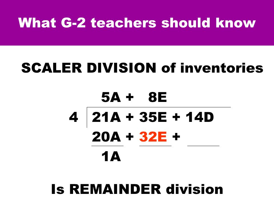 What G-2 teachers should know SCALER DIVISION of inventories.