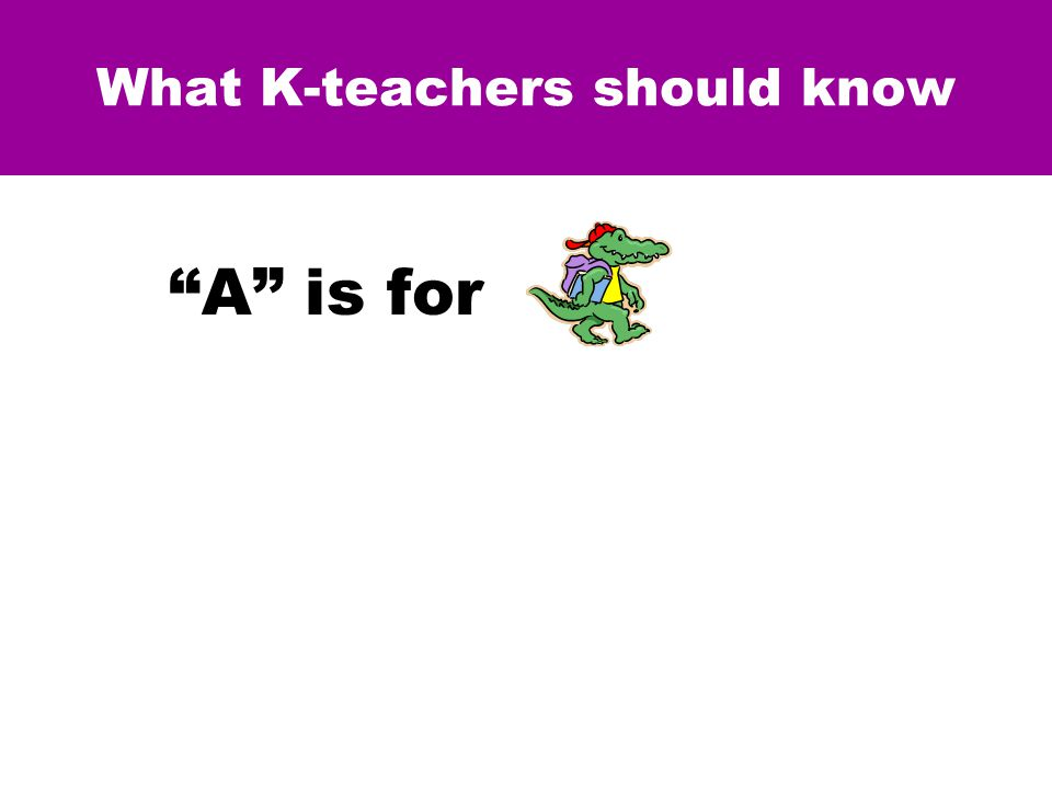 What K-teachers should know A is for The term, alligator , is the NOMEN for all things of a specific kind.