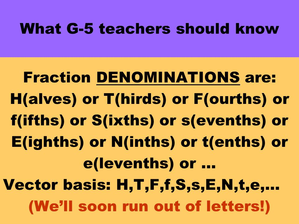 What G-5 teachers should know Fraction DENOMINATIONS are: H(alves) or T(hirds) or F(ourths) or f(ifths) or S(ixths) or s(evenths) or E(ighths) or N(inths) or t(enths) or e(levenths) or … Vector basis: H,T,F,f,S,s,E,N,t,e,… (We'll soon run out of letters!)