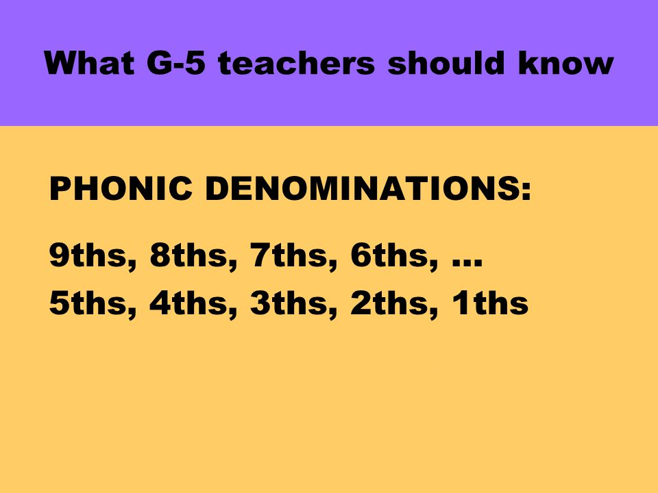 What G-5 teachers should know PHONIC DENOMINATIONS: 9ths, 8ths, 7ths, 6ths, … 5ths, 4ths, 3ths, 2ths, 1ths 2(4ths) + 3(4ths) = 5(4ths)