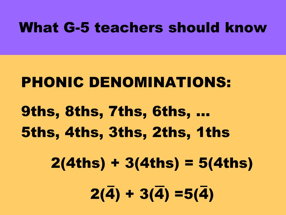 What G-5 teachers should know PHONIC DENOMINATIONS: 9ths, 8ths, 7ths, 6ths, … 5ths, 4ths, 3ths, 2ths, 1ths 2(4ths) + 3(4ths) = 5(4ths) 2(4) + 3(4) =5(4)