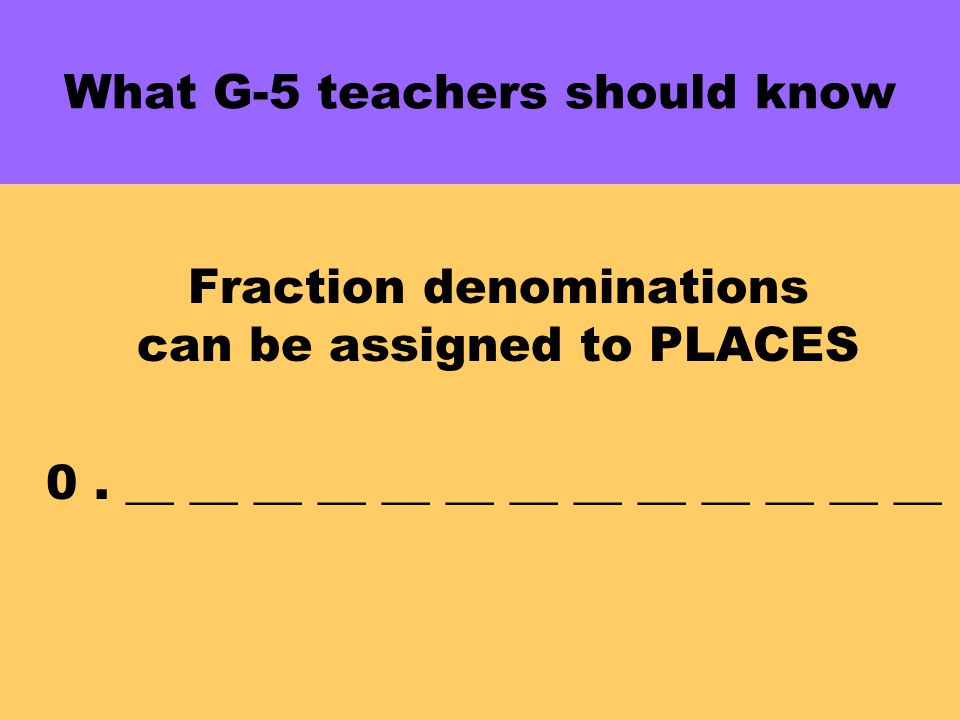 What G-5 teachers should know Fraction denominations can be assigned to PLACES 0.