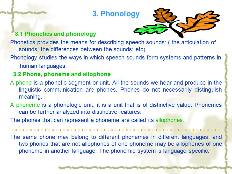 3.3 Phonemic contrast, complementary distribution, free variation, and minimal pair If two phonetically similar sounds distinguish meaning, they form a phonemic contrast.
