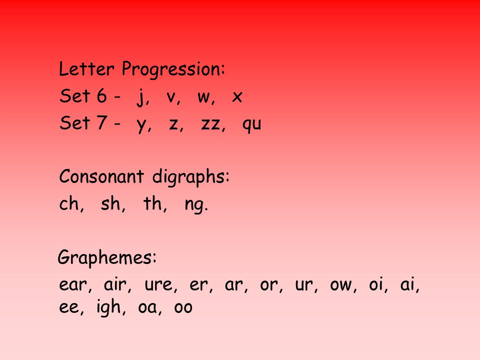Letter Progression: Set 6 -j, v, w, x Set 7 -y, z, zz, qu Consonant digraphs: ch, sh, th, ng.