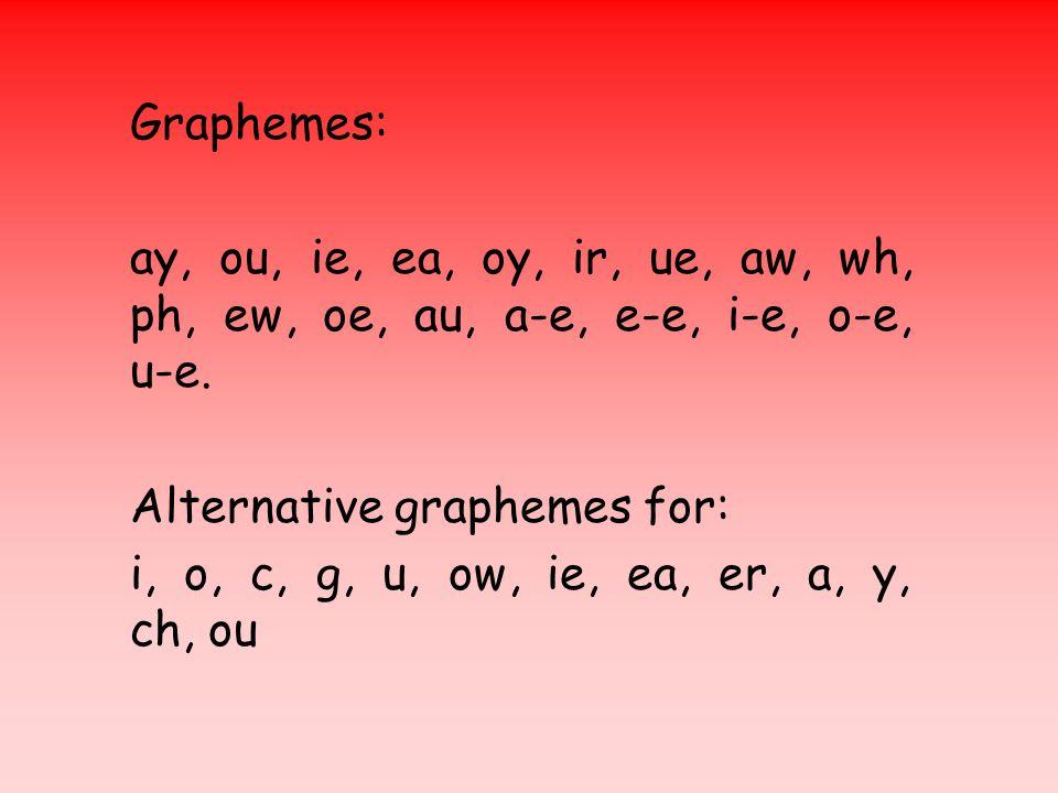 Graphemes: ay, ou, ie, ea, oy, ir, ue, aw, wh, ph, ew, oe, au, a-e, e-e, i-e, o-e, u-e. Alternative graphemes for: i, o, c, g, u, ow, ie, ea, er, a, y