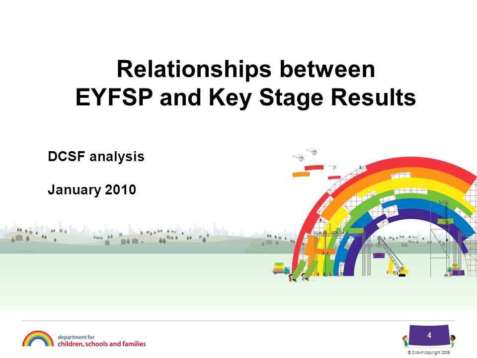 © Crown copyright 2009 4 DCSF analysis January 2010 Relationships between EYFSP and Key Stage Results