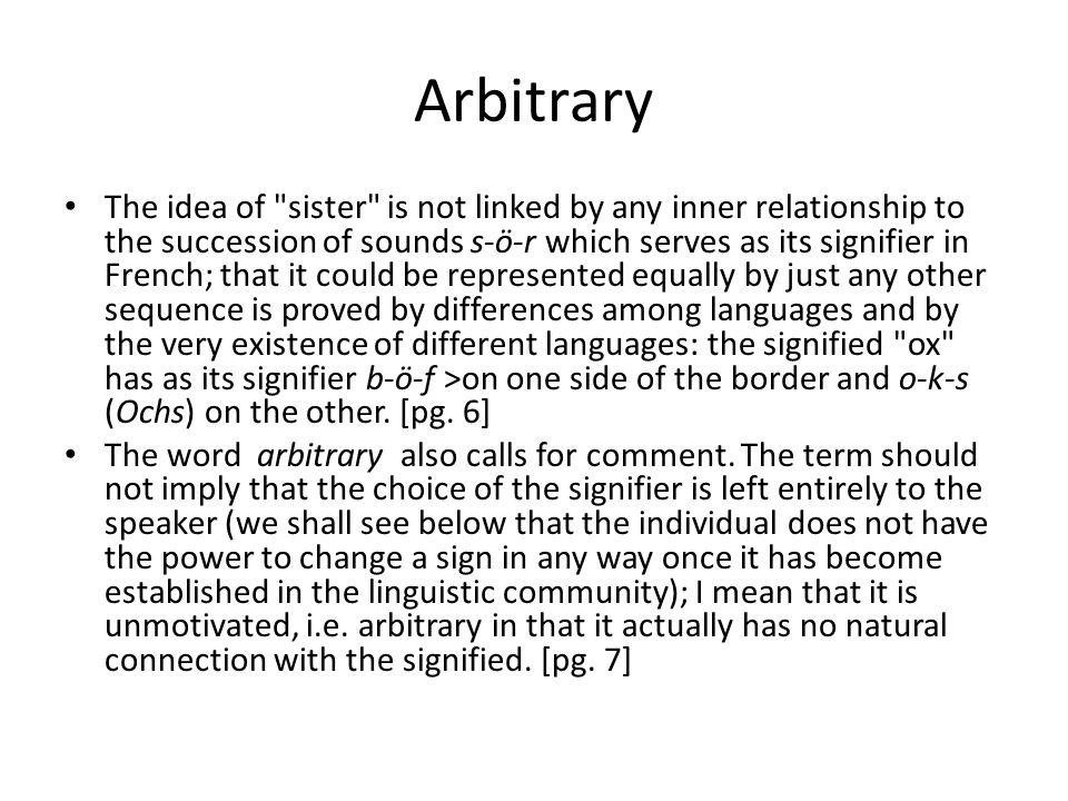 Arbitrary The idea of