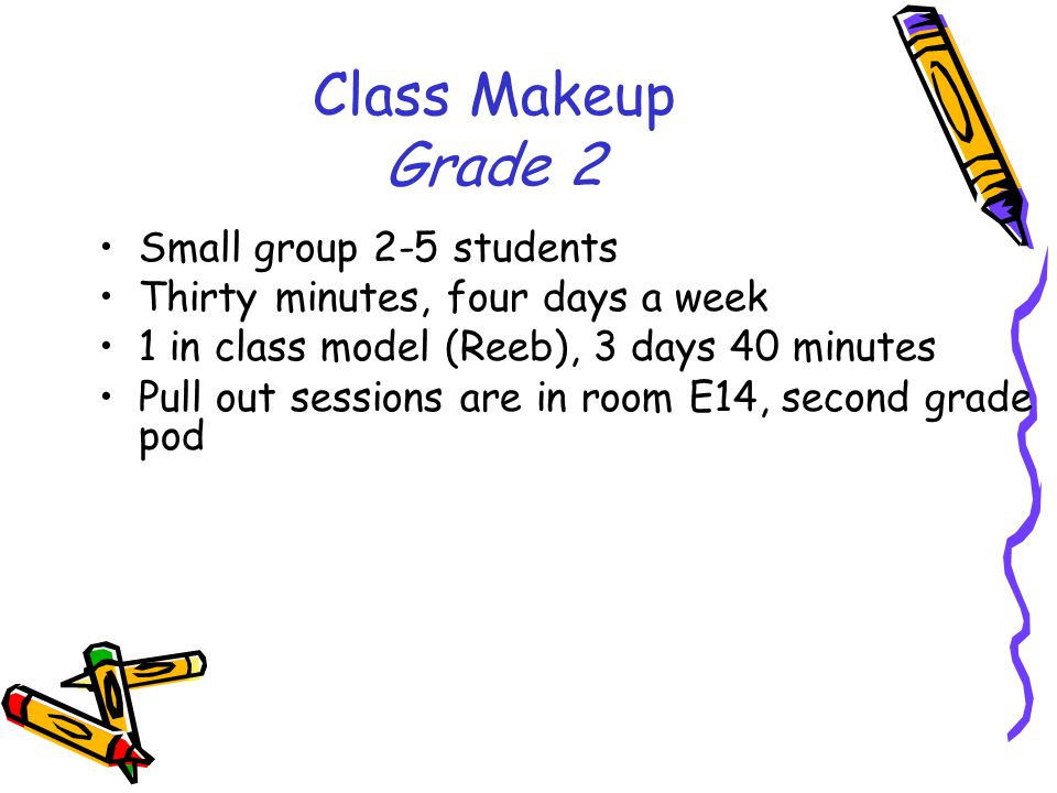 Class Makeup Grade 2 Small group 2-5 students Thirty minutes, four days a week 1 in class model (Reeb), 3 days 40 minutes Pull out sessions are in room E14, second grade pod