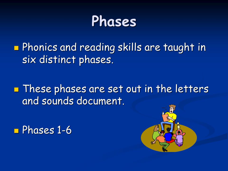 Phases Phase 1: Children learn rhymes, keep rhythms and start to relate letter sounds to words.