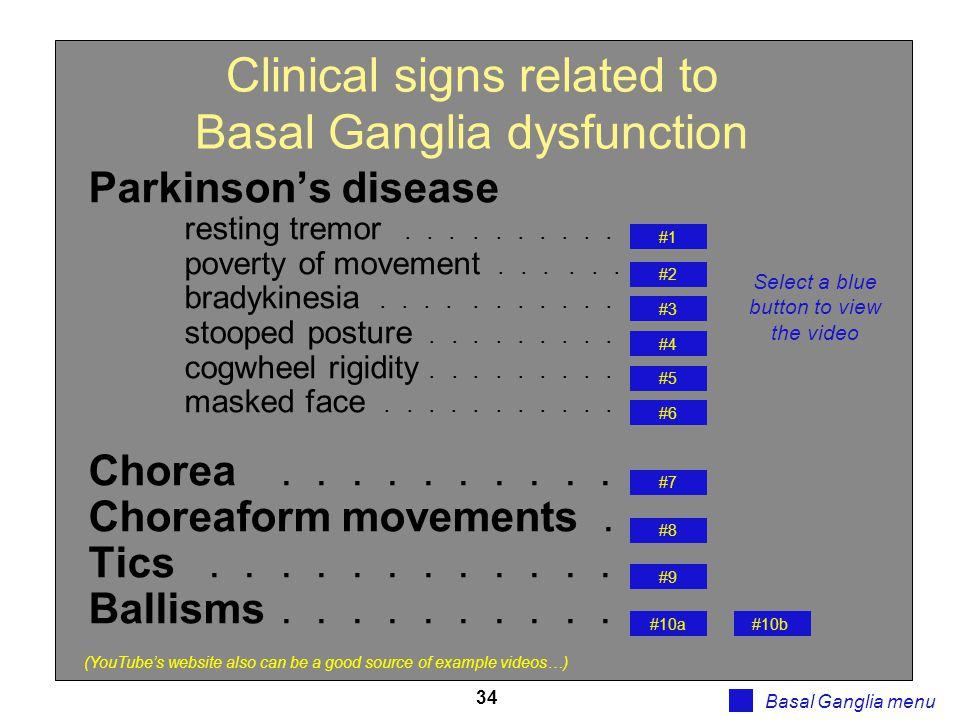 34 Basal Ganglia clinical signs Basal Ganglia menu Parkinson's disease resting tremor.......... poverty of movement...... bradykinesia........... stoo