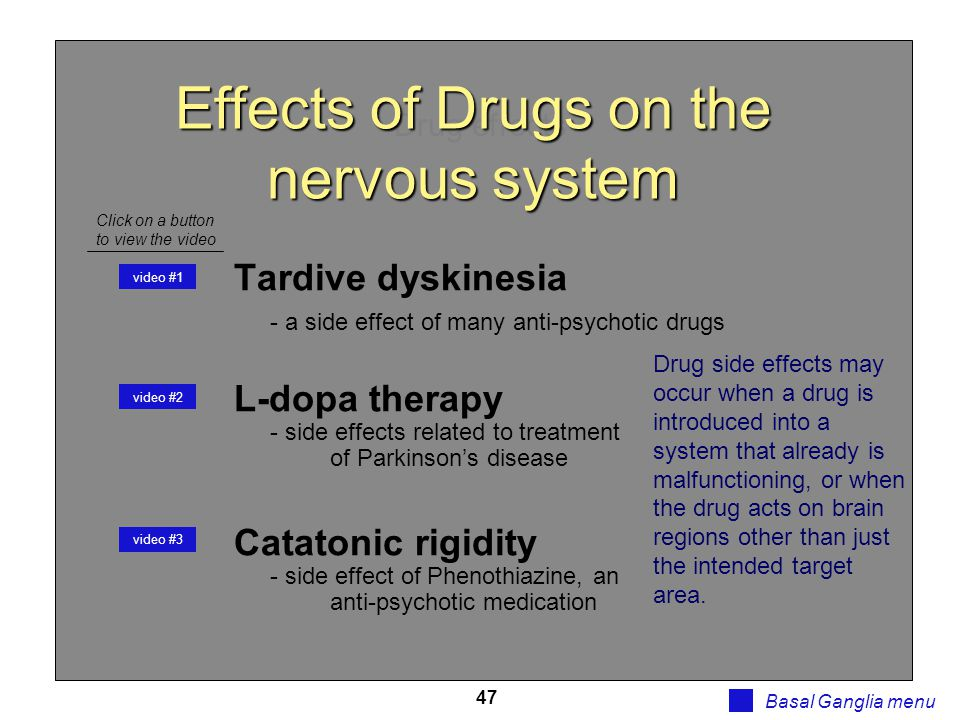 47 Drug effects Basal Ganglia menu Tardive dyskinesia - a side effect of many anti-psychotic drugs L-dopa therapy - side effects related to treatment