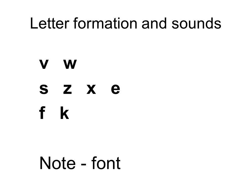 Letter formation and sounds v w s z x e f k Note - font